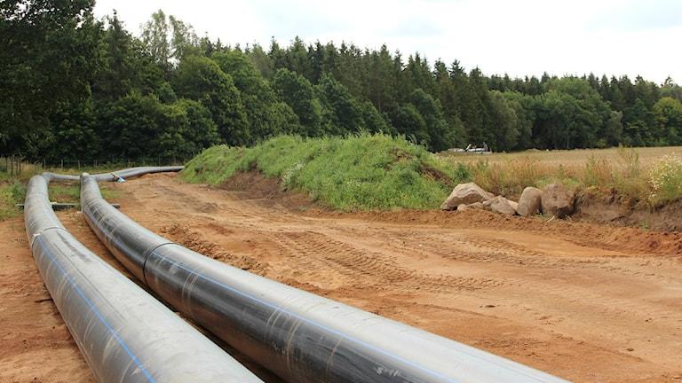 Två nya vattenledningar ligger bredvid varandra på uppgrävd mark norr om Johannishus. Foto: Malin Hjulström/Sveriges Radio.
