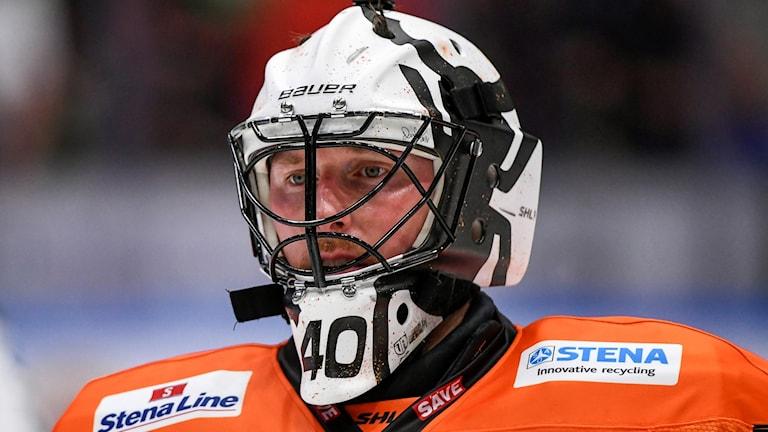 """Närbild på Johan """"Honken"""" Holmqvist från KHK under en match."""