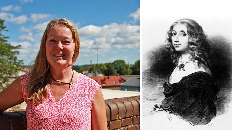Kristina Sjögren och ritning av drottning Kristina.