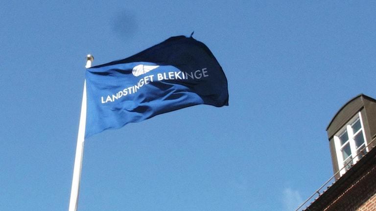 En flagga blåser i vinden.