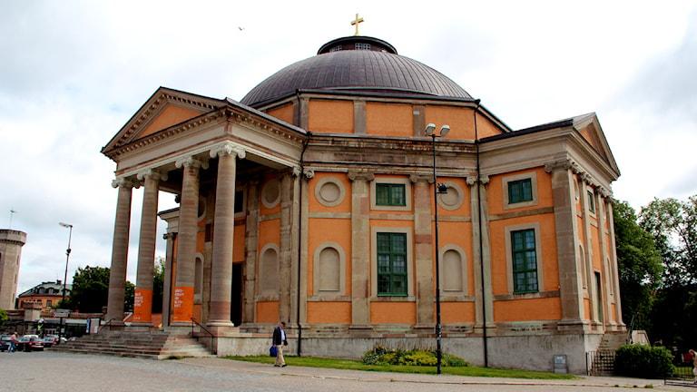 trefaldighetskyrkani karlskrona, fotograferad utifrån. Foto: Stina Linde/Sveriges radio.
