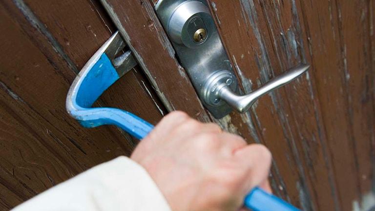En inbrottstjuv bryter upp dörren till en bostad med hjälp av en kofot Foto: Henrik Montgomery/TT