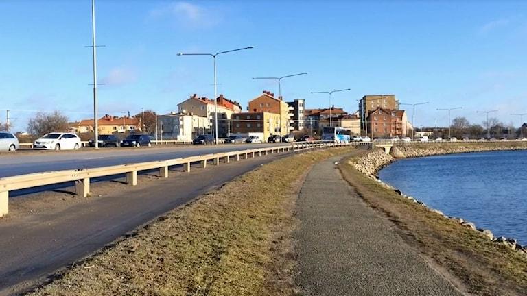 En bild på sista biten av infartsleden i Karlskrona.