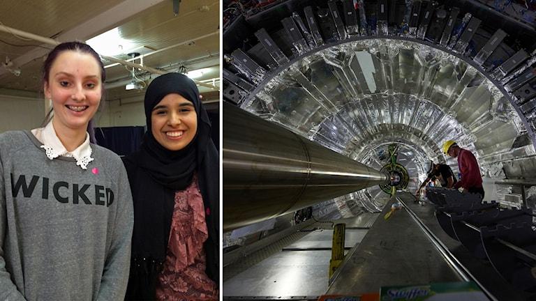 Schweiz particle collider och två elever från Väggagymnasiet