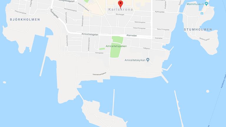 Södra delen av Trossö på en karta.