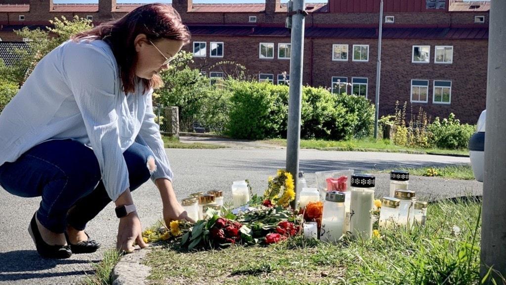 Nathalie Frid Fröberg vid platsen för det misstänkta mordet.