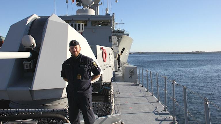 HMS Malmös fartygschef Peter Krönvik. Foto: Mikael Eriksson/Sveriges Radio