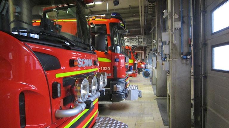 Vagnhall, brandkår, räddningstjänst Karlskrona genre. Foto: Carina Melin/SR.