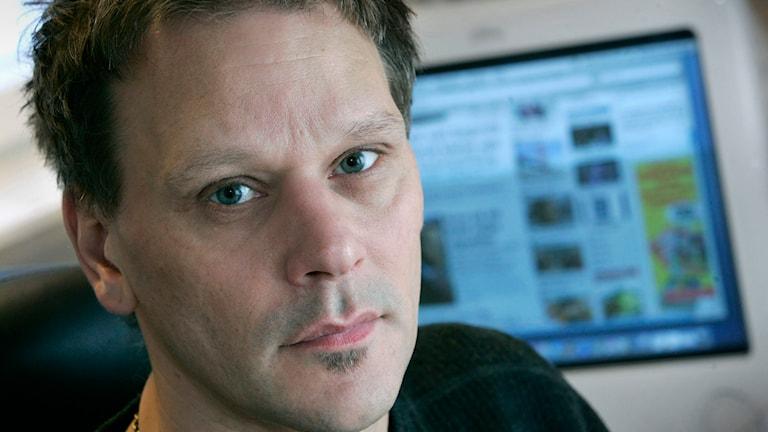 En närbild på Michael Westerlunds ansikte. Foto: Claudio Bresciani / TT.