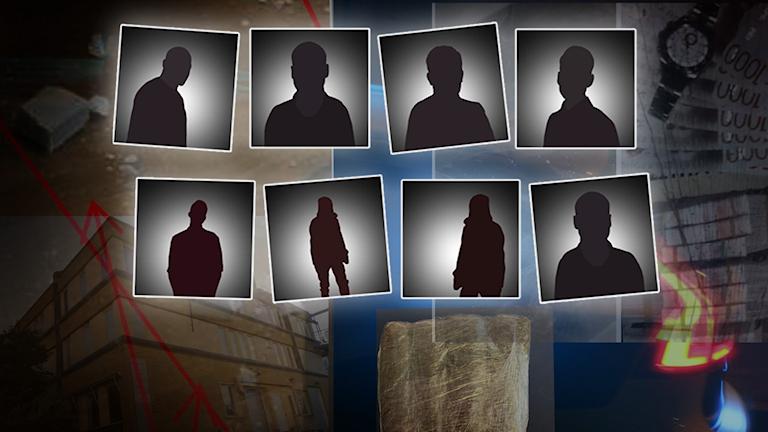 Siluetter av åtta män. Kollage med bilder.