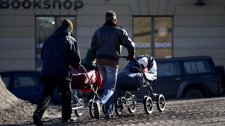 Två pappalediga drar barnvagnar. F