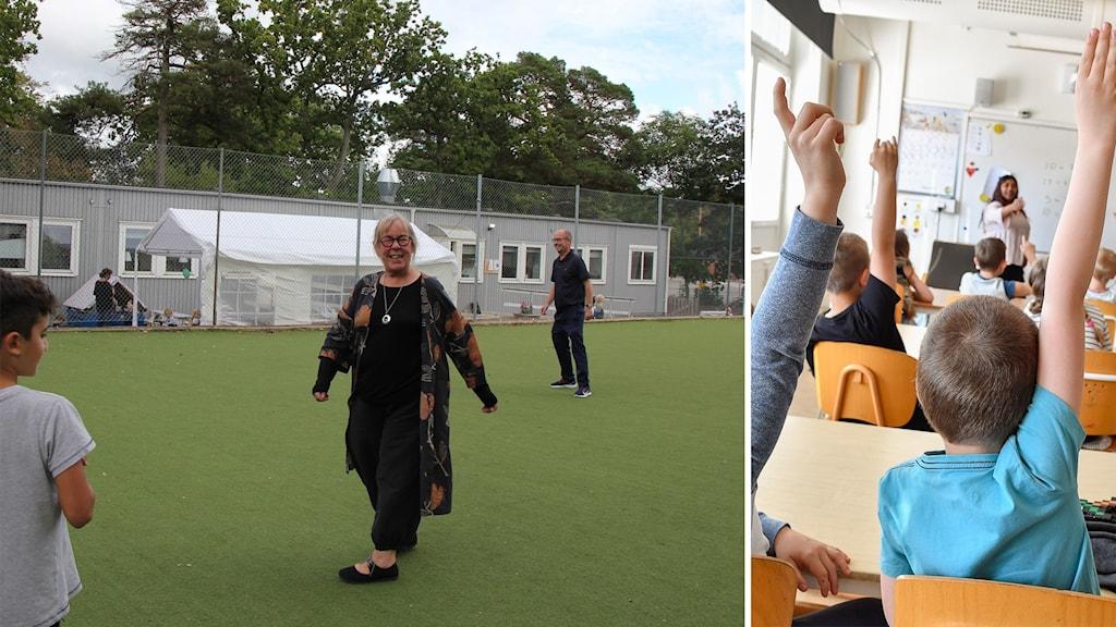 Monica Olsson går på en gräsplan på skolan Musikugglan.