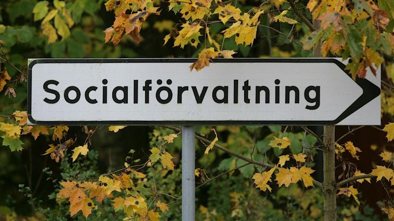 En skylt som pekar mot Socialförvaltningen. Foto: Fredrik Strandberg/TT