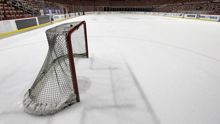 Ett hockeymål på isen. Foto: Paul Sancya/AP