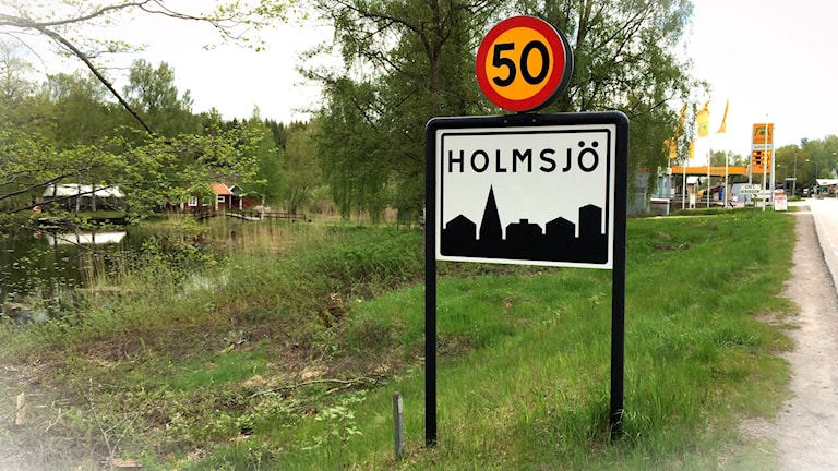 Ortsgränsen i Holmsjö.