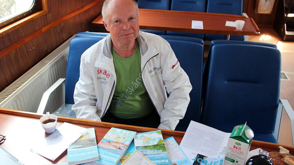 Lars-Gunnar Bengtsson från Stigmännen,  Karlshamns orienteringsklubb. Foto: Stina Linde/Sveriges Radio