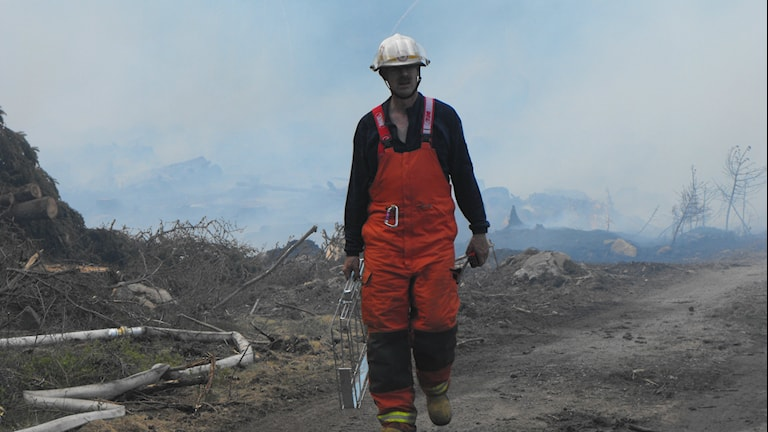 Brandman kommer gående från en skorgsbrand i bakgrunden. Foto: Mikael Eriksson/Sveriges Radio.