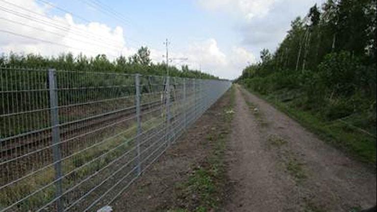 Ett stängsel längs med ett järnvägsspår. Foto: Trafikverket