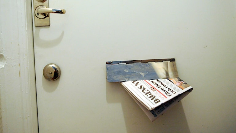 Ett brevinkast med en tidning i. Foto:Bertil Ericson/TT