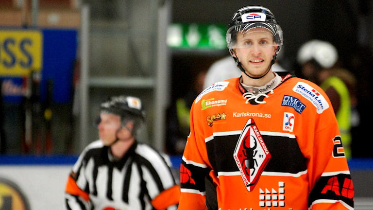 Alexander Bergström gjorde ett av KHK:s mål mot Rögle. Foto: Oscar Anderberg/Sveriges Radio