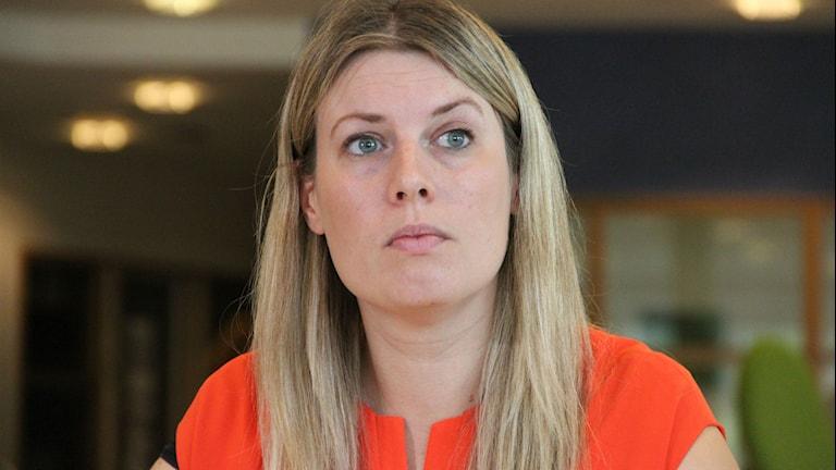 Malin Norfall gruppledare för Socialdemokraterna i Ronneby. Foto: Mikael Eriksson/Sveriges Radio