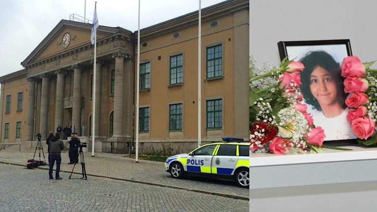 Ett collage med en bild på Blekinge tingsrätt samt en bild från åttaåriga Yaras begravning. Foto: Stina Linde/Andrea Jilder