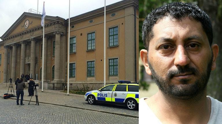 Ett collage med en bild på tingsrätten i Karlskrona och Yaras pappa Mohammad Alnajjar. Foto: Stina Linde/Andrea Jilder