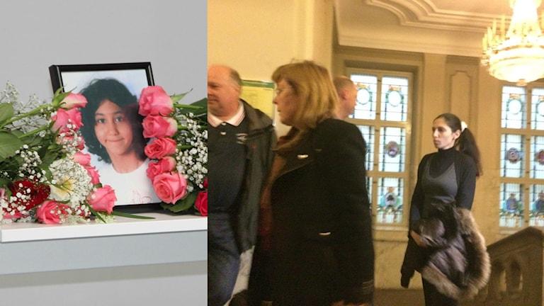 Ett bildcollage med en bild från Yaras begravning en om bild på hennes mamma som går in i rättssalen. Foto: Andrea Jilder/