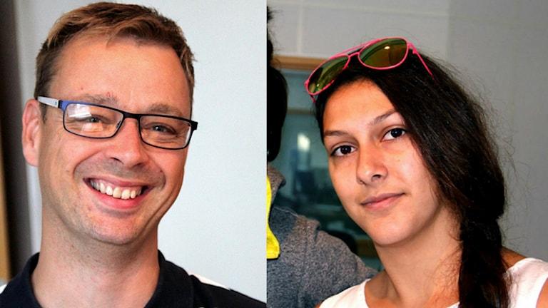 Lars Myrén och Aya Al Sadoon i Fredagspanelen. Foto: Stina Linde/Sveriges Radio
