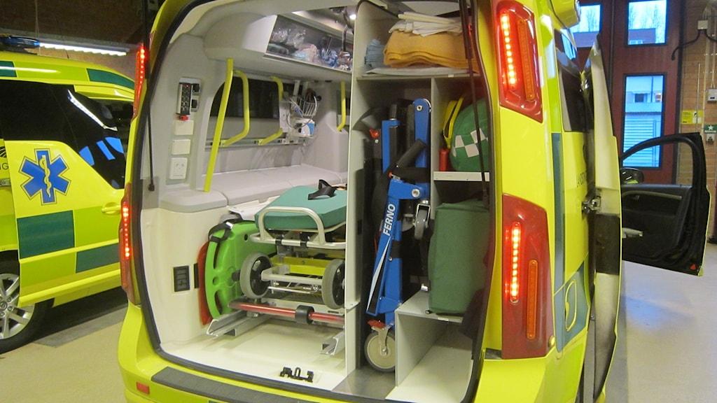interiör ambulans Karlshamn. Foto: Carina Melin/Sveriges Radio