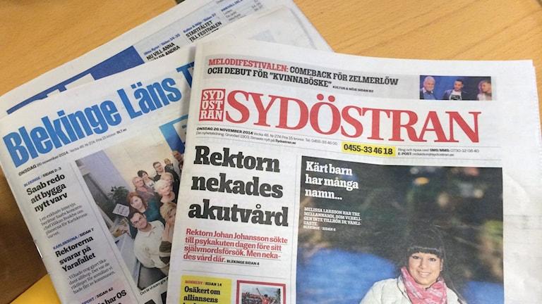 De båda lokaltidningarna BLT och Sydöstran. Foto: Stina Linde/Sveriges Radio