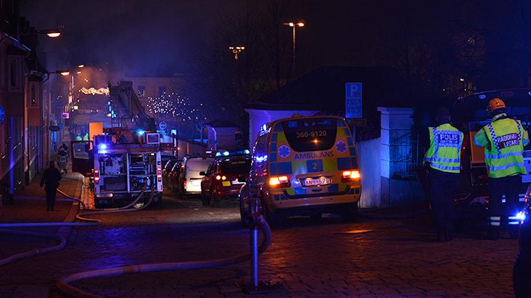 Fullt räddningspådrag vid en brand i Karlshamn.