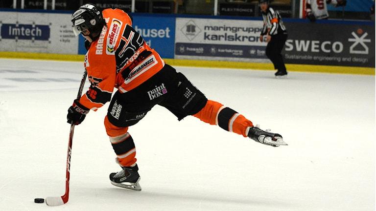 Maksim Matushkin, KHK blev tvåmålskytt i segermatchen mot Timrå. Foto: Oscar Anderberg