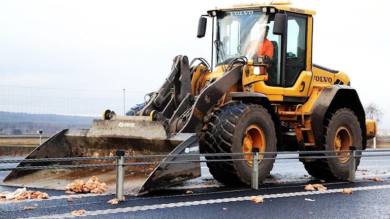 En gul traktor skyfflar upp fryst kyckling från E22. Lyssnarbild: Roland Andersson