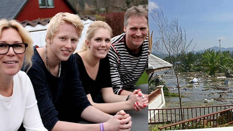 Familjen Rubensson Perssson står i rad på sin veranda. Foto: Sveriges Radio/Privat
