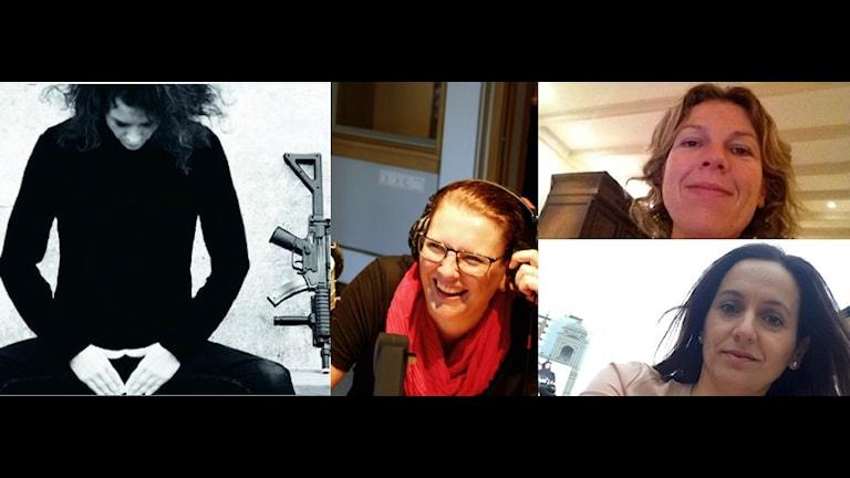 Ett kollage över medlemmarna i panelen och omslaget till Liv Strömquists album. Foto. Press/Privat
