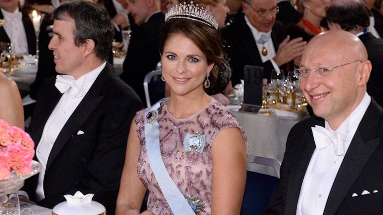 Prinsessan Madeleine på Nobelmiddagen. Foto: TT