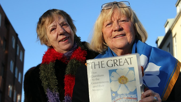 Kerstin Johansson och Margit Nygren reste under 80-talet runt i världen för att verka för fred. Foto: Stina Linde/Sveriges Radio