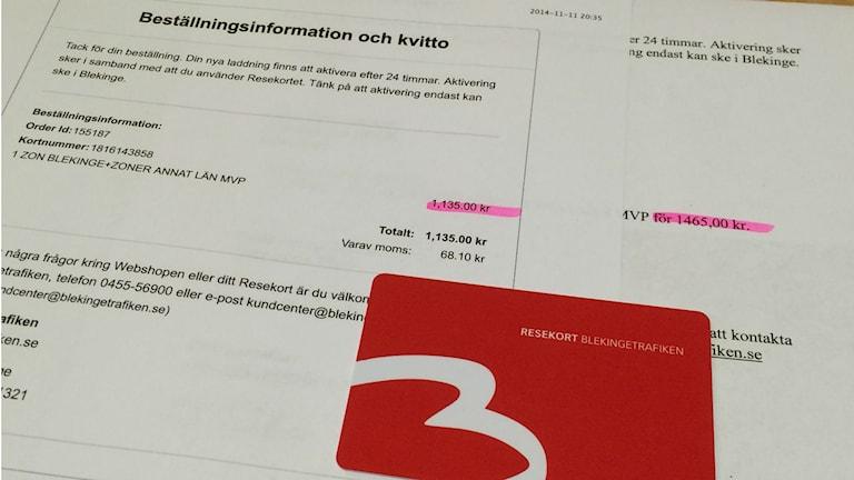 En bild på kvitton och tett resekort. Foto: privat