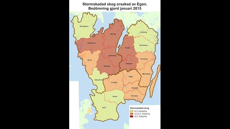 karta över södra sverige med skadad skog, grafik