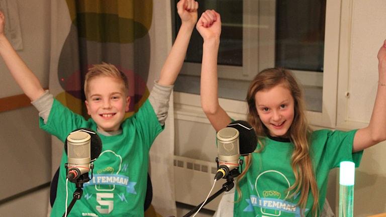 Noah Nilsson och Wilma Wessberg, Korpadalsskolan klass 5B, Karlshamn. Foto:Ammi Wirdahl/Sveriges Radio