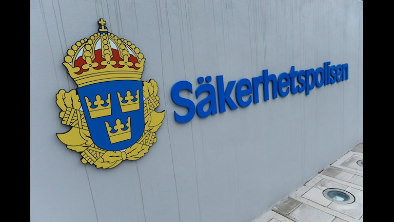 Säkerhetspolisens logotyp utanför huvudkontoret. Foto: Claudio Bresciani/TT