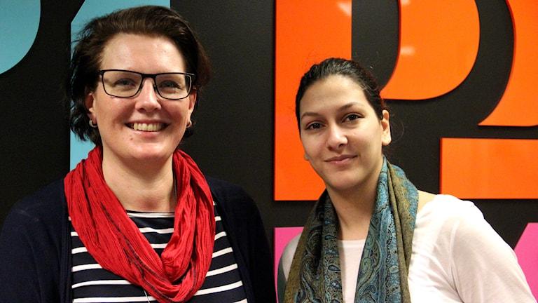 Anna Svahn och Aya Al Sadoon i fredagspanelen. Foto: Annika Nilsson/Sveriges Radio.
