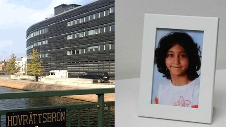Ett kollage med hovrätten i Malmö och en bild på en flicka. Foto: Martina Pierrou/Andrea Jilder/Sveriges Radio