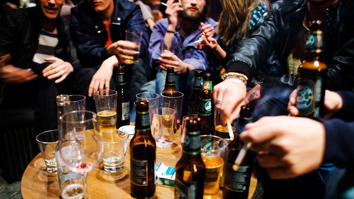Flera personer sitter runt ett bord där det står flaskor och glas. Foto:Tor Johansson/TT