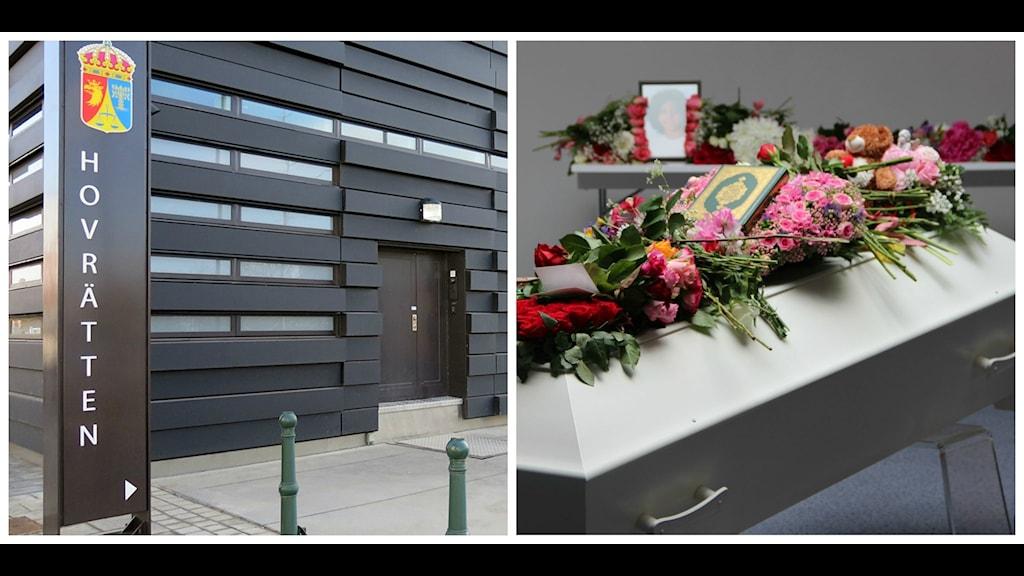 Hovrätten. Yaras blomsterprydda kista. Foto:Sveriges Radio