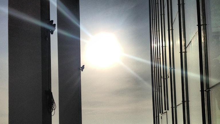 Solen som lyser in genom ett fönster.