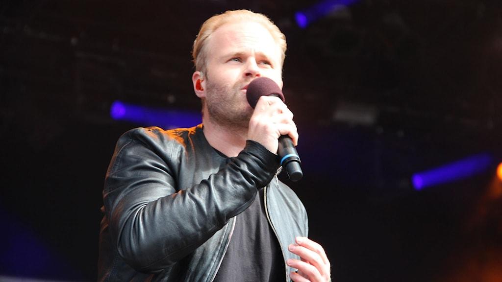 Jens Sporron gav naturligtvis allt på stora scenen. Foto: Daniel Kjellander/Sveriges Radio.