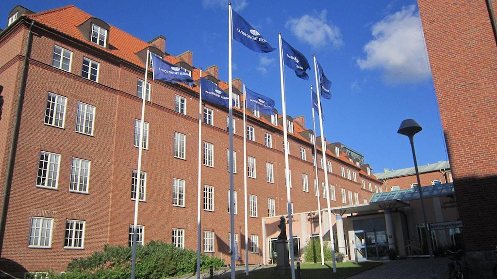 Landstinget Blekinge flaggor på långt håll. Foto: Carina Melin