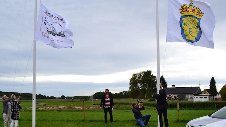 Invigningsceremonin Flagghissning. Foto: Privat